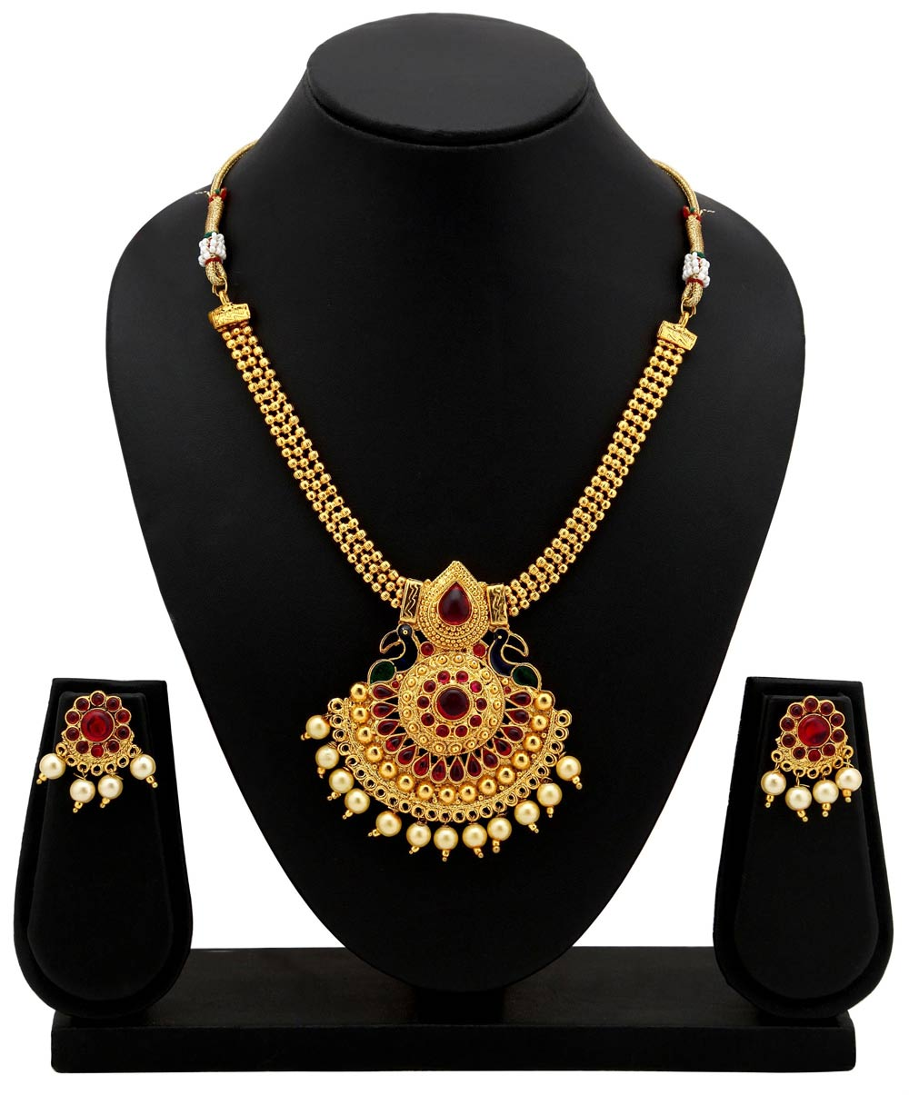 Sukkhi Traditional Gold Plated Necklace Set: Sukkhi Resplendent Gold Plated Necklace Set For Women