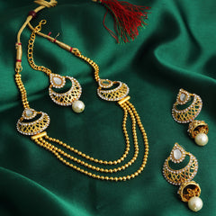 0019 Sukkhi Graceful 3 String Gold Plated Necklace Set For Women