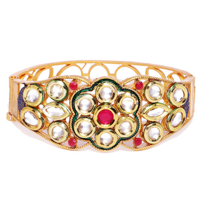 Sukkhi Sleek Gold Plated Kundan Kada For Women