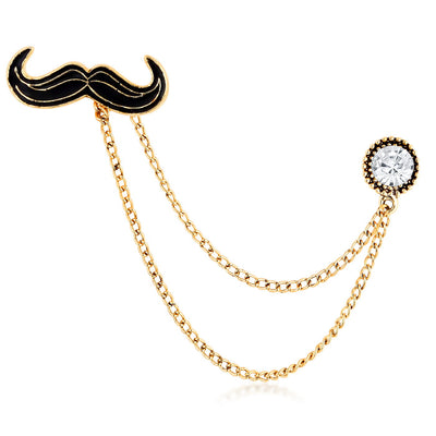 Sukkhi Amazing Gold Plated Mustachio Style Lapel pin for men