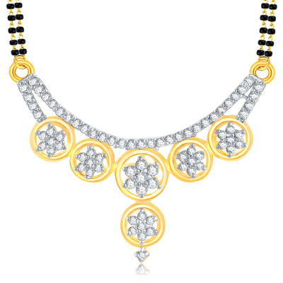 Pissara Exquitely Gold Plated CZ Mangalsutra Set For Women-1