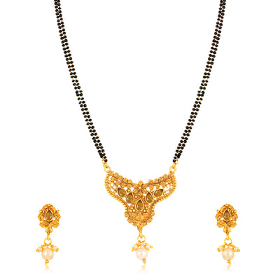 Sukkhi Modern Gold Plated LCT Stone Floral Mangalsutra for Women