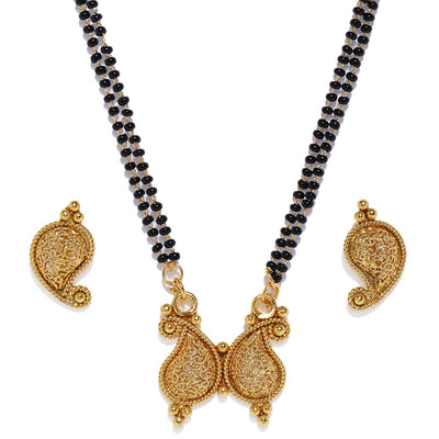 Sukkhi Wavy Gold Plated Mangalsutra Set For Women