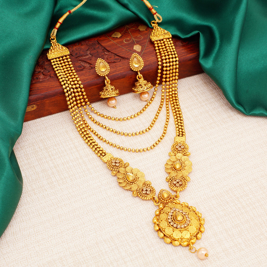 112382df1aa Sukkhi Traditional Gold Plated Long Haram Dual Necklace Set for women