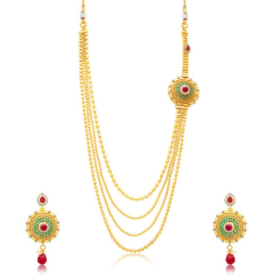 Sukkhi Beguiling 4 String Gold Plated Long Haram Necklace Set For Women