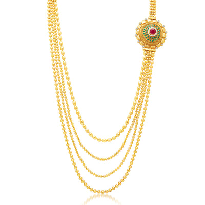 Sukkhi Beguiling 4 String Gold Plated Long Haram Necklace Set For Women-1