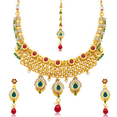 Sukkhi Artistically Gold Plated Choker Necklace Set For Women