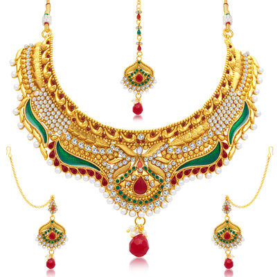 Sukkhi Royal Gold Plated Choker Necklace Set For Women