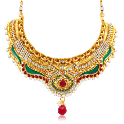 Sukkhi Royal Gold Plated Choker Necklace Set For Women-1