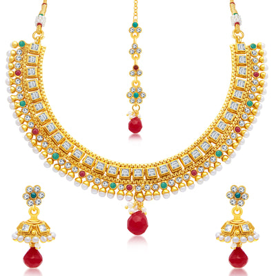Sukkhi Beguiling Gold Plated Choker Necklace Set For Women