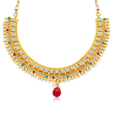 Sukkhi Beguiling Gold Plated Choker Necklace Set For Women-1