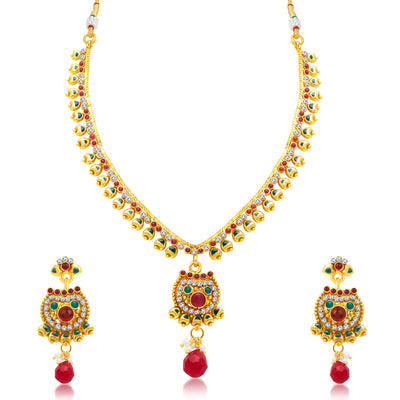 Sukkhi Pretty Gold Plated Choker Necklace Set For Women