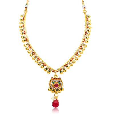 Sukkhi Pretty Gold Plated Choker Necklace Set For Women-1
