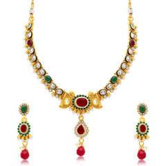 Sukkhi Shimmering Gold Plated Choker Necklace Set For Women