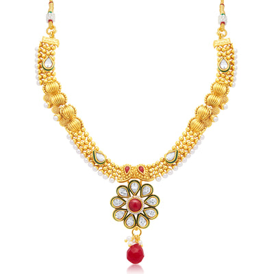 Sukkhi Glimmery Gold Plated Choker Necklace Set For Women-1