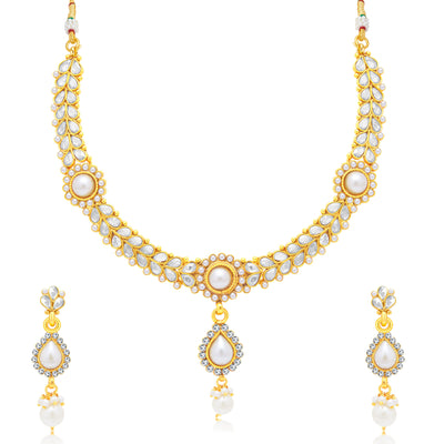 Sukkhi Delightful Gold Plated Choker Necklace Set For Women