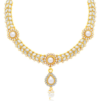 Sukkhi Delightful Gold Plated Choker Necklace Set For Women-1
