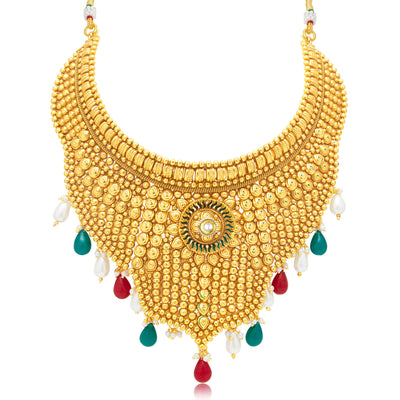 Sukkhi Artistically Gold Plated Choker Necklace Set For Women-1