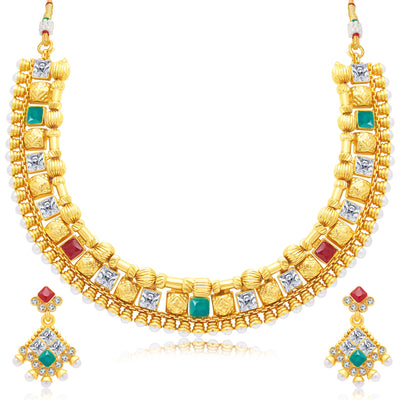 Sukkhi Blossomy Gold Plated Choker Necklace Set For Women
