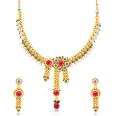 Sukkhi Intricately Crafted Gold Plated Choker Necklace Set For Women