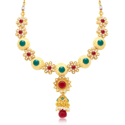 Sukkhi Blossomy Gold Plated Choker Necklace Set For Women-1