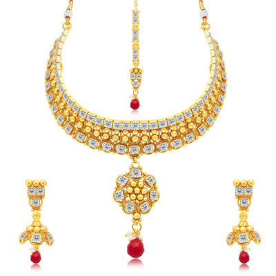 Sukkhi Intricately Gold Plated Choker Necklace Set For Women