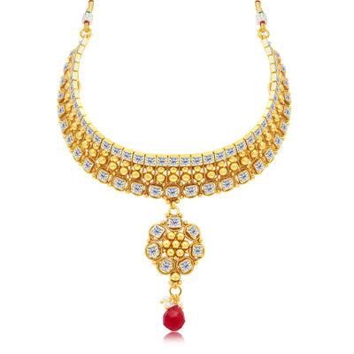 Sukkhi Intricately Gold Plated Choker Necklace Set For Women-1