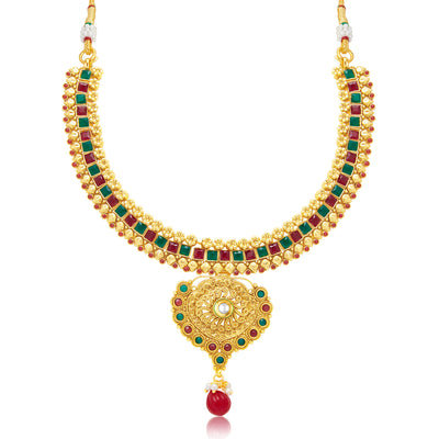 Sukkhi Trendy Gold Plated Choker Necklace Set For Women-1