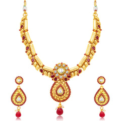 Sukkhi Intricately Gold Plated Maroon Studded Stone Choker Necklace Set For Women