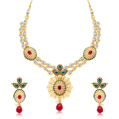 Sukkhi Exquitely Gold Plated Choker Necklace Set For Women