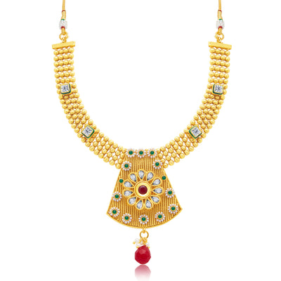 Sukkhi Glittery Gold Plated Choker Necklace Set For Women-1
