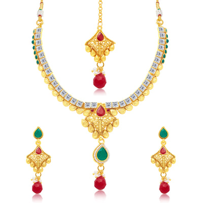Sukkhi Modern Gold Plated Choker Necklace Set For Women