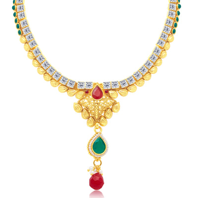 Sukkhi Modern Gold Plated Choker Necklace Set For Women-1