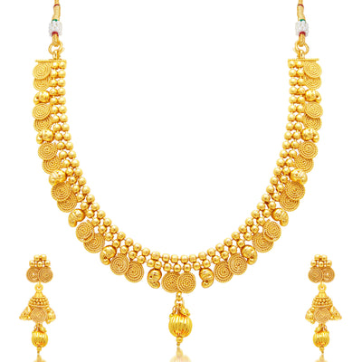 Sukkhi Angelic Jalebi Gold Plated Choker Necklace Set For Women