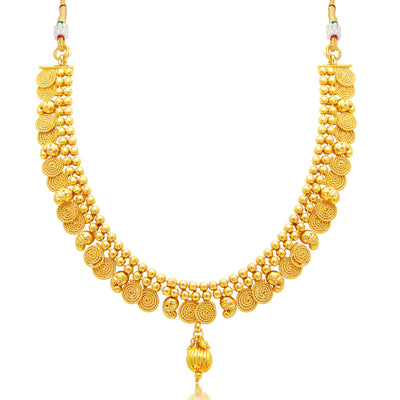 Sukkhi Angelic Jalebi Gold Plated Choker Necklace Set For Women-1