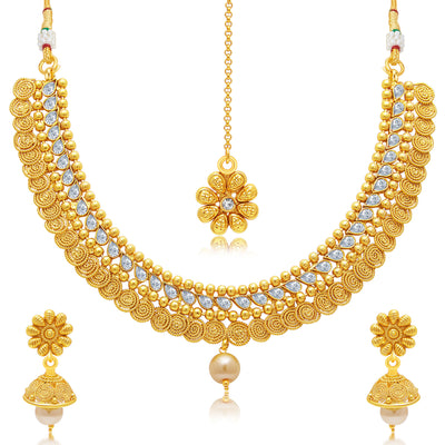 Sukkhi Ritzy Jalebi Gold Plated Choker Necklace Set For Women