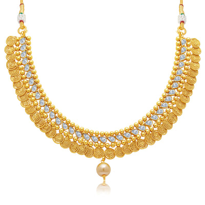 Sukkhi Ritzy Jalebi Gold Plated Choker Necklace Set For Women-1