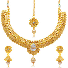 Sukkhi Stunning Jalebi Gold Plated Choker Necklace Set For Women
