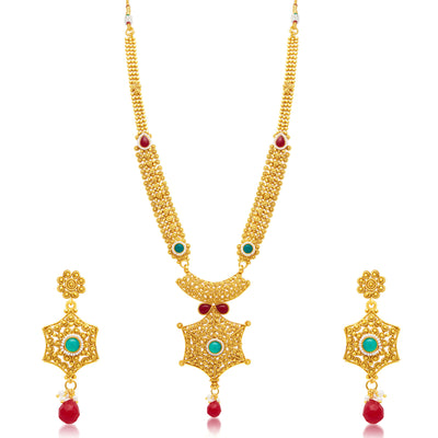 Sukkhi Exquisite Gold Plated Long Haram Necklace Set For Women