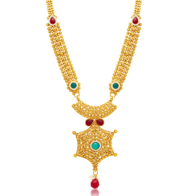 Sukkhi Exquisite Gold Plated Long Haram Necklace Set For Women-1