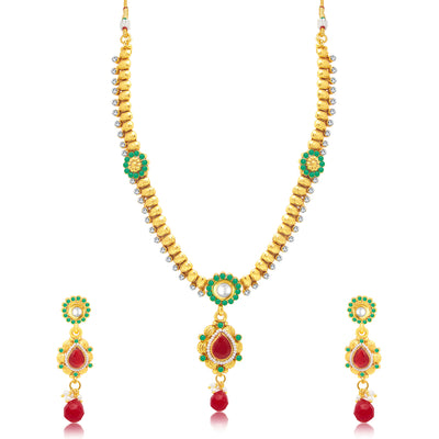 Sukkhi Shimmering Gold Plated Long Haram Necklace Set For Women