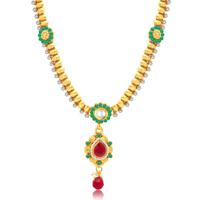Sukkhi Shimmering Gold Plated Long Haram Necklace Set For Women-1