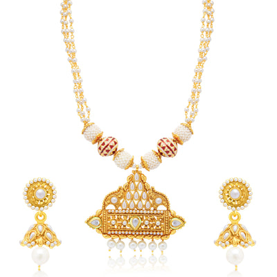 Sukkhi Graceful Gold Plated Long Haram Necklace Set For Women