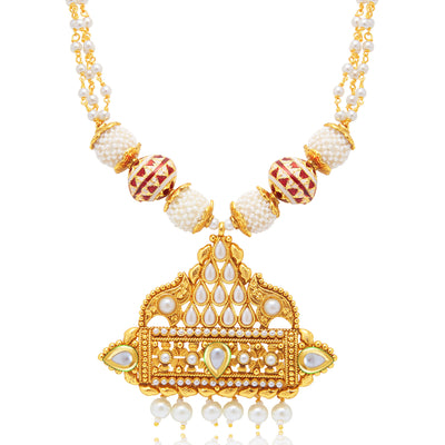 Sukkhi Graceful Gold Plated Long Haram Necklace Set For Women-1