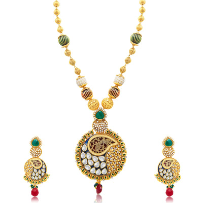 Sukkhi Delightful Gold Plated Long Haram Necklace Set For Women