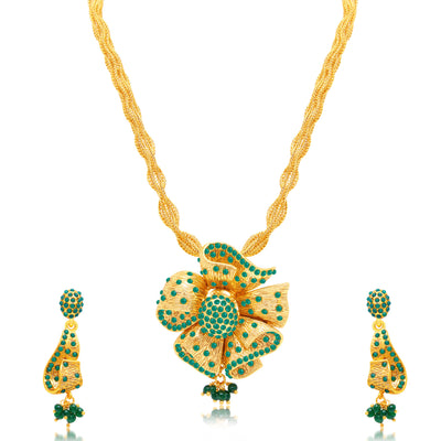 Sukkhi Astonishing Gold Plated Green Studded Stone Long Haram Necklace Set For Women