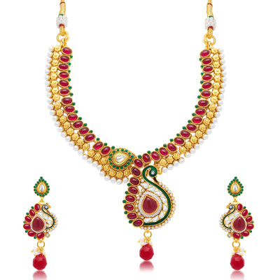 Sukkhi Attractive Peacock Gold Plated Choker Necklace Set For Women