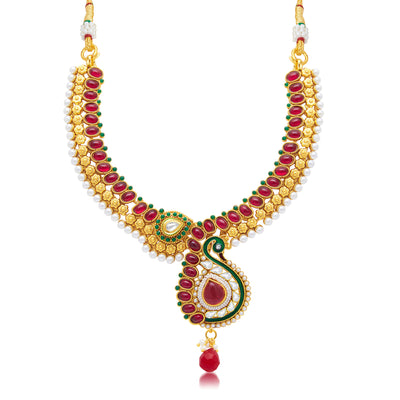Sukkhi Attractive Peacock Gold Plated Choker Necklace Set For Women-1