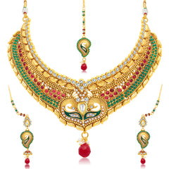 Sukkhi Stylish Peacock Gold Plated Choker Necklace Set For Women