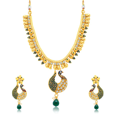 Sukkhi Exquisite Peacock Gold Plated Choker Necklace Set For Women